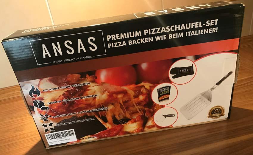 ANSAS Pizzaschaufel Set in der Verpackung von amazon